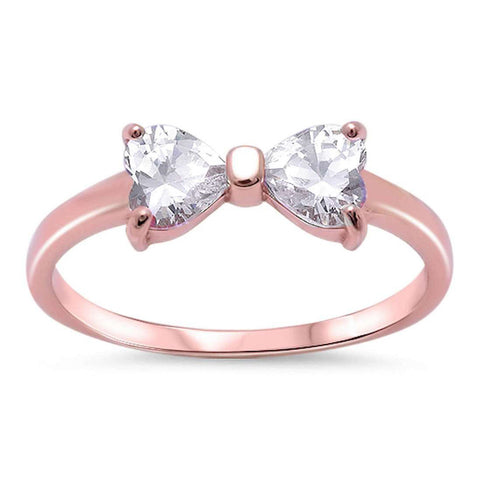 Petite Dainty Heart Ribbon Bow Tie Ring Heart CZ Rose Gold Rhodium Plated 925 Sterling Silver - Blue Apple Jewelry