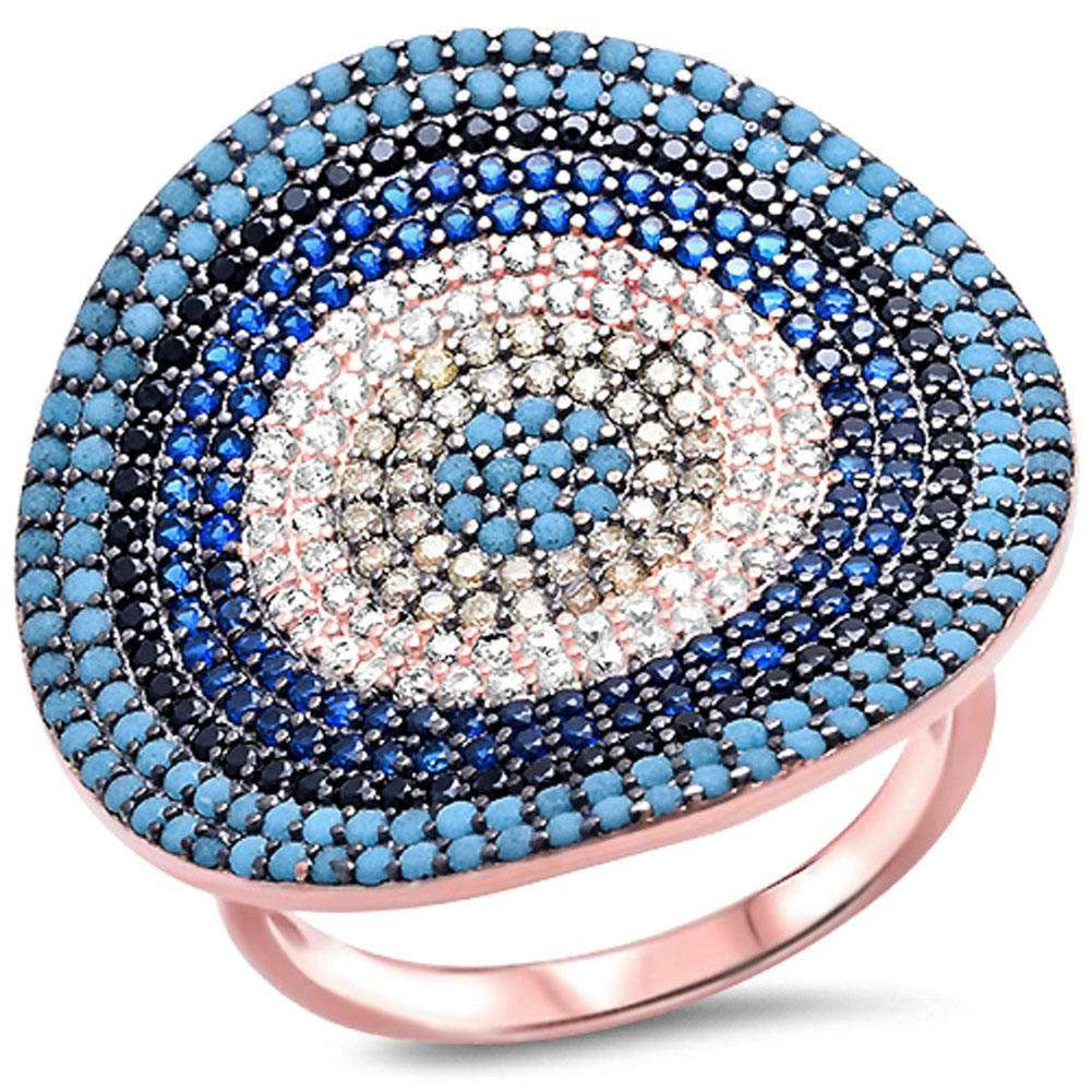 Fashion Evil Eye Ring Mulitcolored Ring 925 Sterling Silver Rose Gold Rhodium Plated - Blue Apple Jewelry