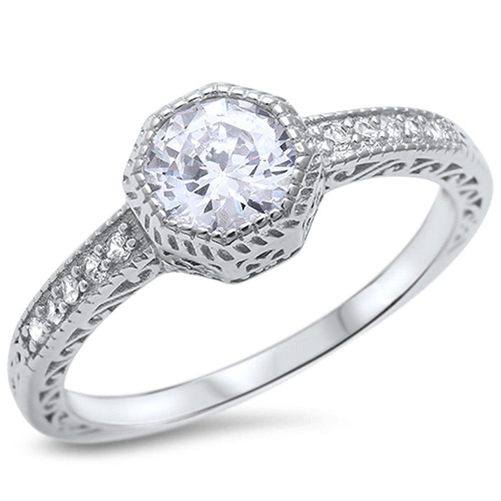Filigree Wedding Engagement Ring Bezel Round Cubic Zirconia Solitaire Accent 925 Sterling Silver - Blue Apple Jewelry