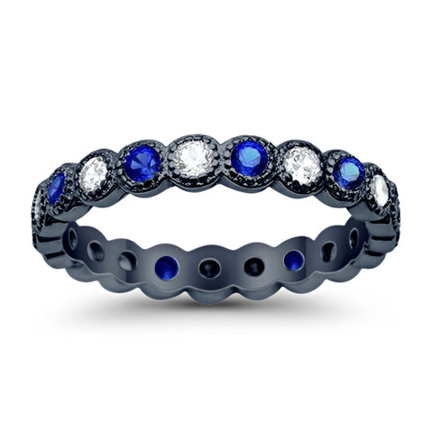 3.5mm Bezel Set Full Eternity Ring Alternating Simulated Round Blue Sapphire 925 Sterling Silver Choose Color