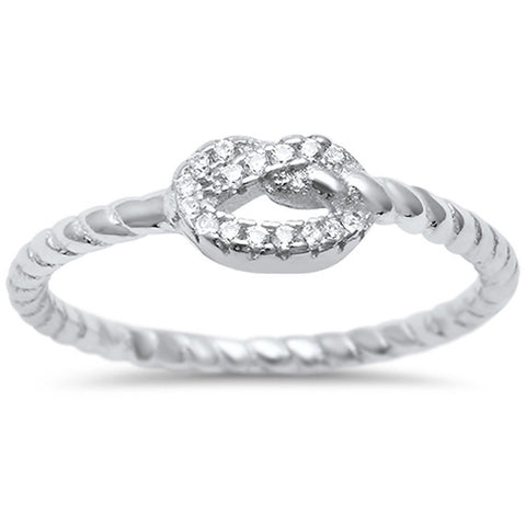 Heart Love Knot Promise Ring Twisted Braided Cable Band 925 Sterling Silver Round CZ