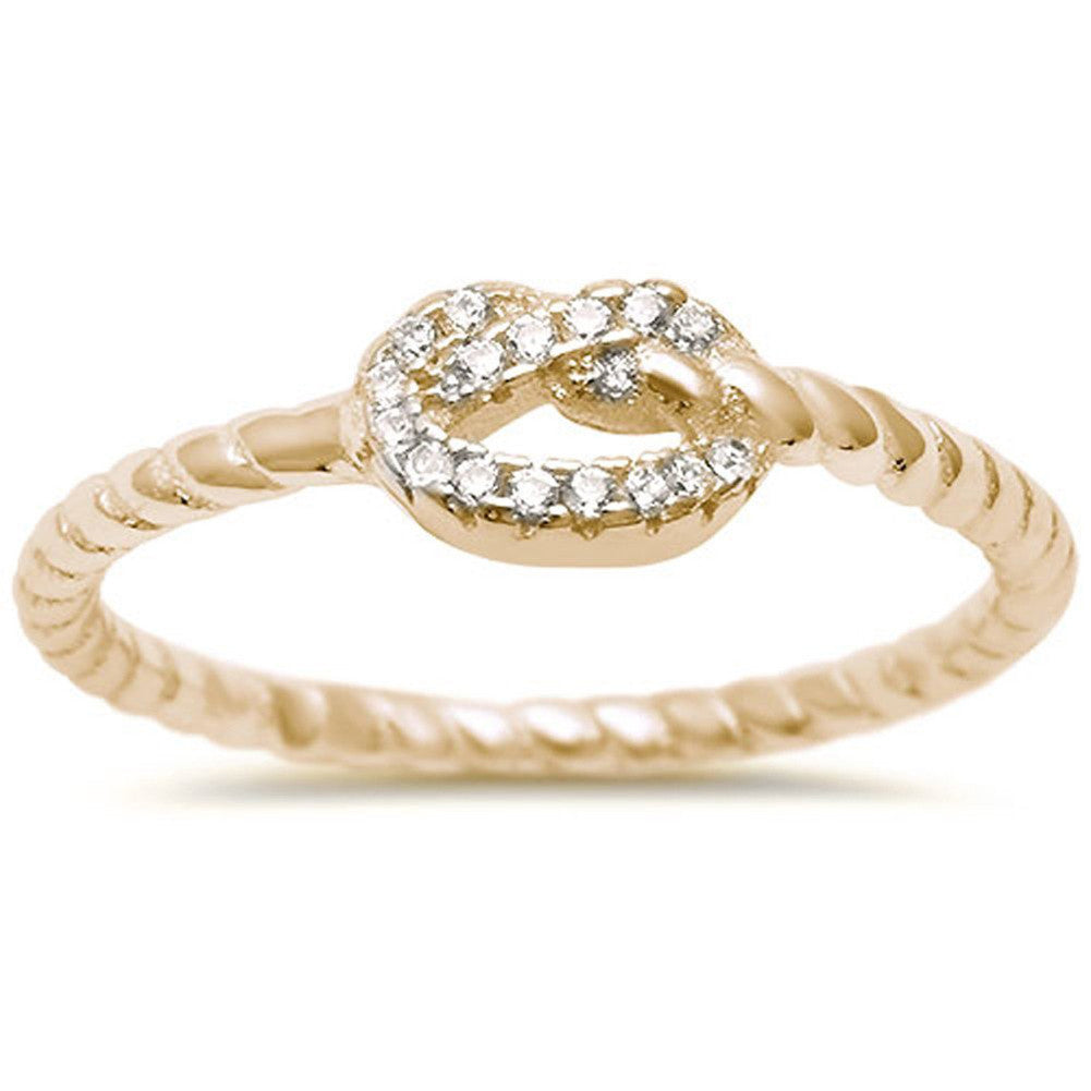 Heart Love Knot Promise Ring Twisted Braided Cable Band