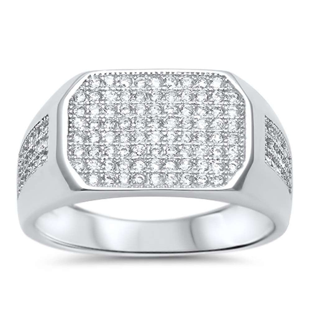 Men Flat Top Ring 925 Sterling Silver Round Micro Pave Iced Out Cubic Zirconia
