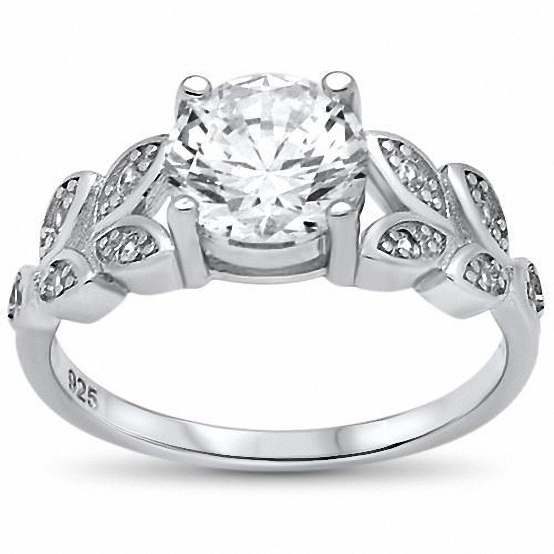 Art Deco Engagement Ring Round Cubic Zirconia 925 Sterling Silver Choose Color