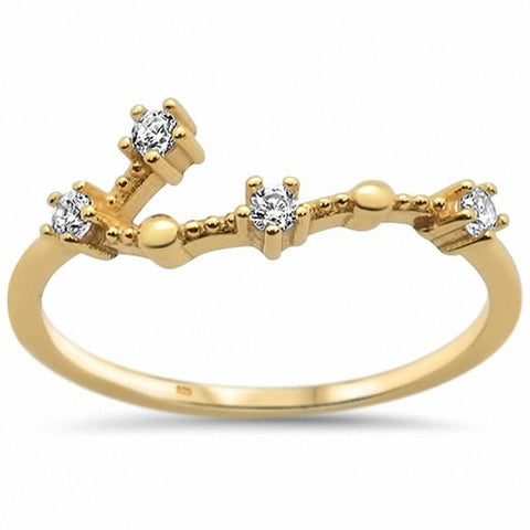 Constellation Design Ring Round Cubic Zirconia 925 Sterling Silver Choose Color