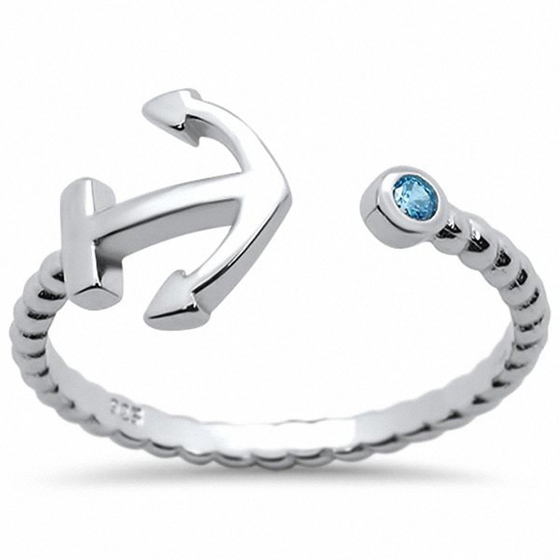 Sideways Anchor Ring Midi Thumb Round Simulated Blue Topaz 925 Sterling Silver Choose Color