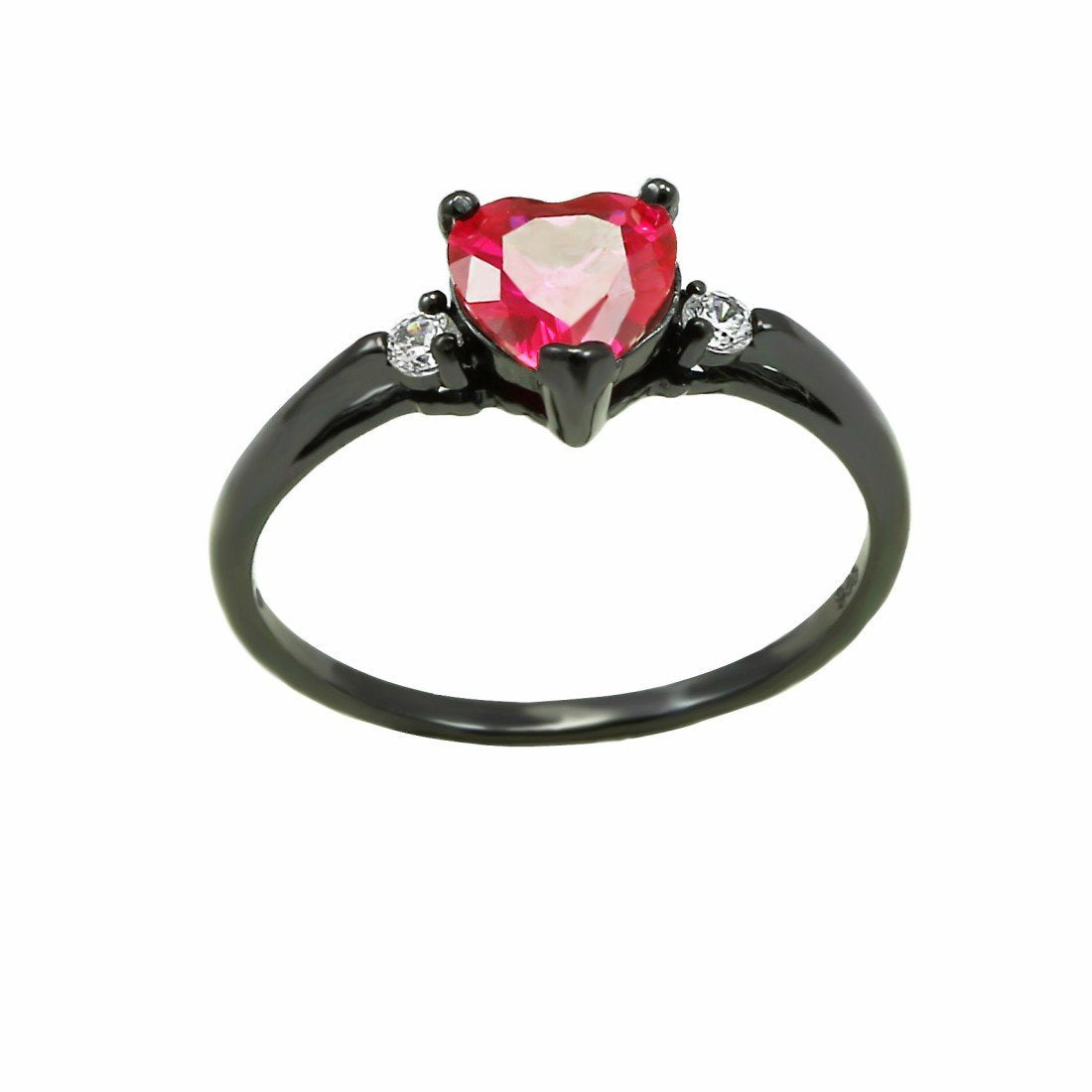 Heart Promise Ring Black Gold Rhodium Plated 925 Sterling Silver Simulated Ruby Round Cubic Zirconia