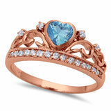Heart Crown Ring Eternity Simulated Amethyst Sapphire Aquamarine Round CZ 925 Sterling Silver Choose Color
