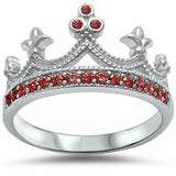 Crown Ring Round Simulated Ruby 925 Sterling Silver Choose Color
