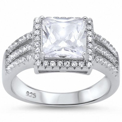 Elegant Wedding Engagement Ring Princess Cut Simulated Round CZ 925 Sterling Silver Choose Color
