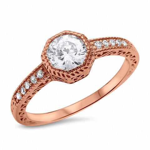 Filigree Wedding Engagement Ring Bezel Round Cubic Zirconia Solitaire Accent 925 Sterling Silver Choose Color