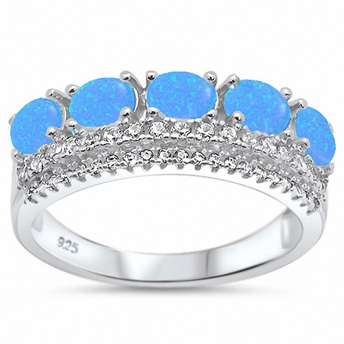 Half Eternity Crown Ring King Quen Round Cubic Zirconia Created Opal 925 Sterling Silver Choose Color
