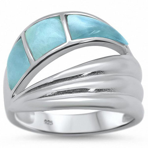 Wave Design Ring Created Opal 925 Sterling Silver Choose Color