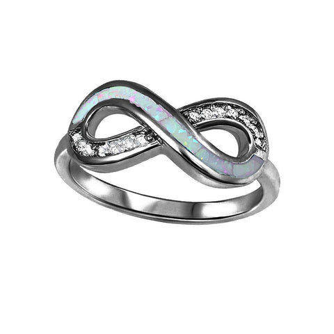 Infinity Engagement Ring Created Opal Round CZ Infinity Promise Ring 925 Sterling Silver Choose Color