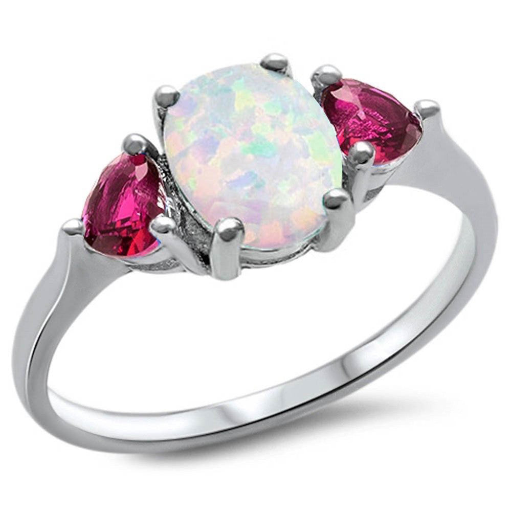 Fashion Promise Ring 3-Stone Oval Lab Created White Opal Heart Simulated Purple Amethyst 925 Sterling Silver - Blue Apple Jewelry