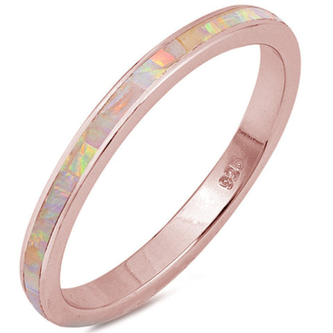3mm Full Eternity Stackable Band Ring Created Opal 925 Sterling Silver Choose Color - Blue Apple Jewelry