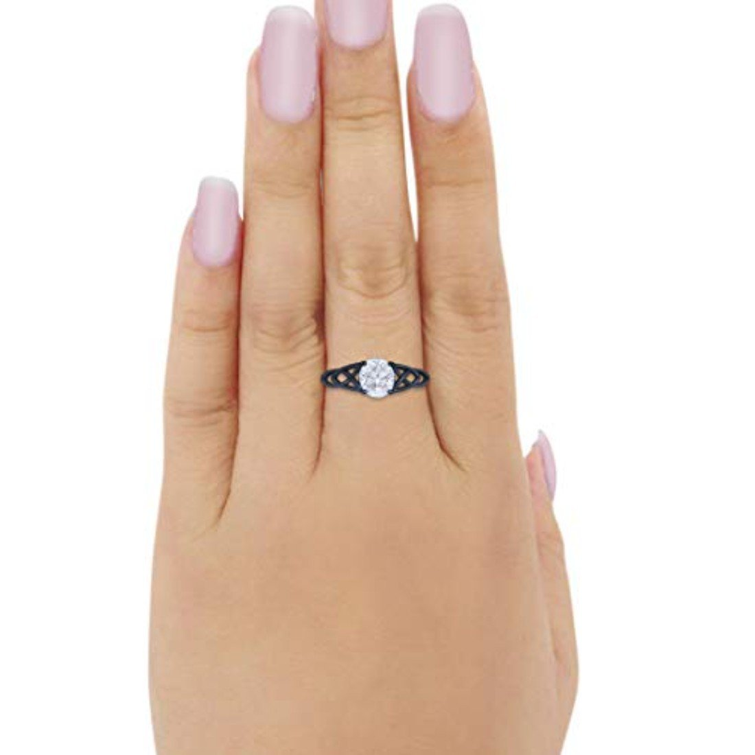 Art Deco Wedding Bridal Ring Simulated Cubic Zirconia 925 Sterling Silver
