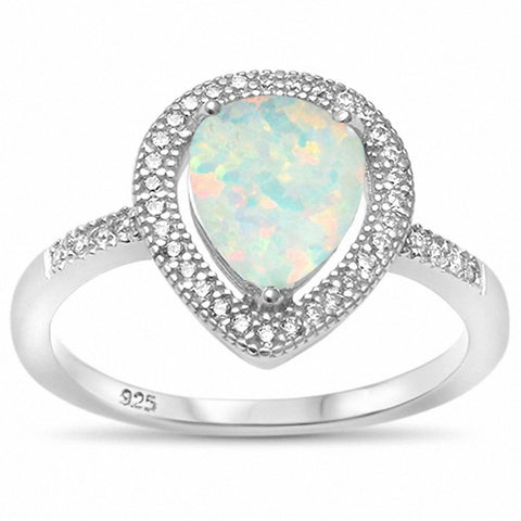 Halo Teardrop Bridal Ring Pear Created Blue Opal Simulated Round CZ 925 Sterling Silver Choose Color