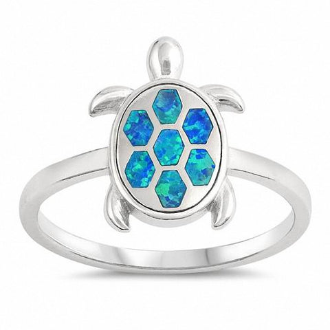 Turtle Ring Created Opal 925 Sterling Silver Choose Color