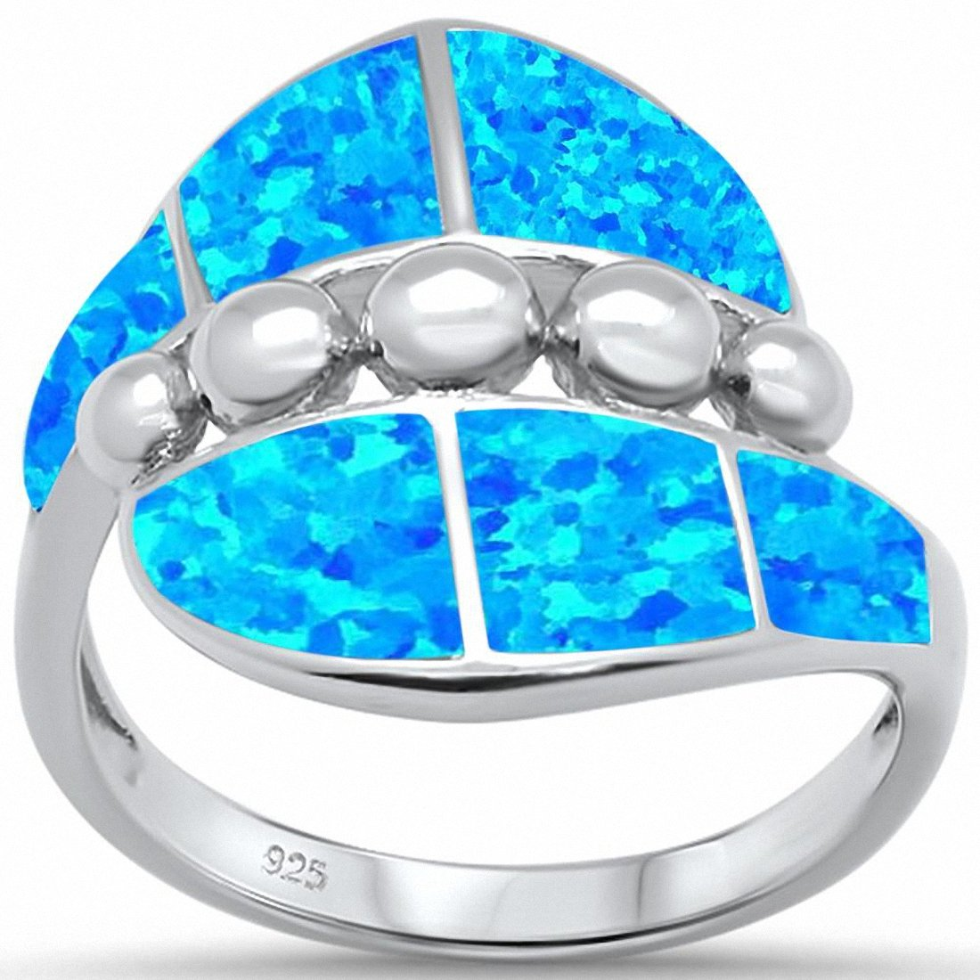 Fashion Ring Cubic Zirconia Simulated Larimar 925 Sterling Silver Choose Color