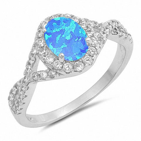 Halo Oval Infinity Twist Shank Fashion Ring Created Opal 925 Sterling Silver Choose Color
