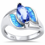Fashion Ring Marquise Simulated Tanzanite Created Opal 925 Sterling Silver Choose Color
