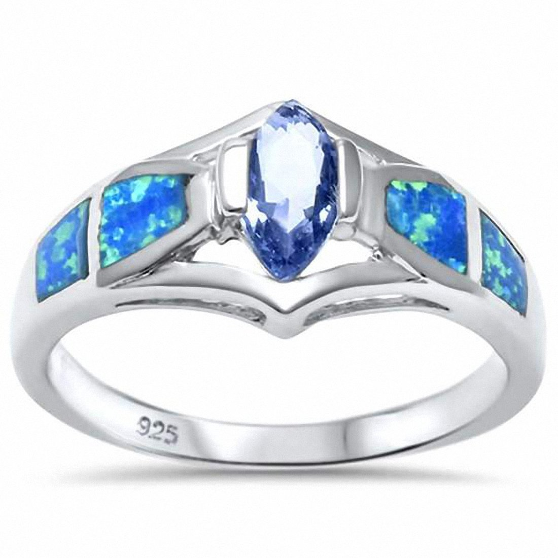 Marquise Simulated Tanzanite Created Opal 925 Sterling Silver Choose Color