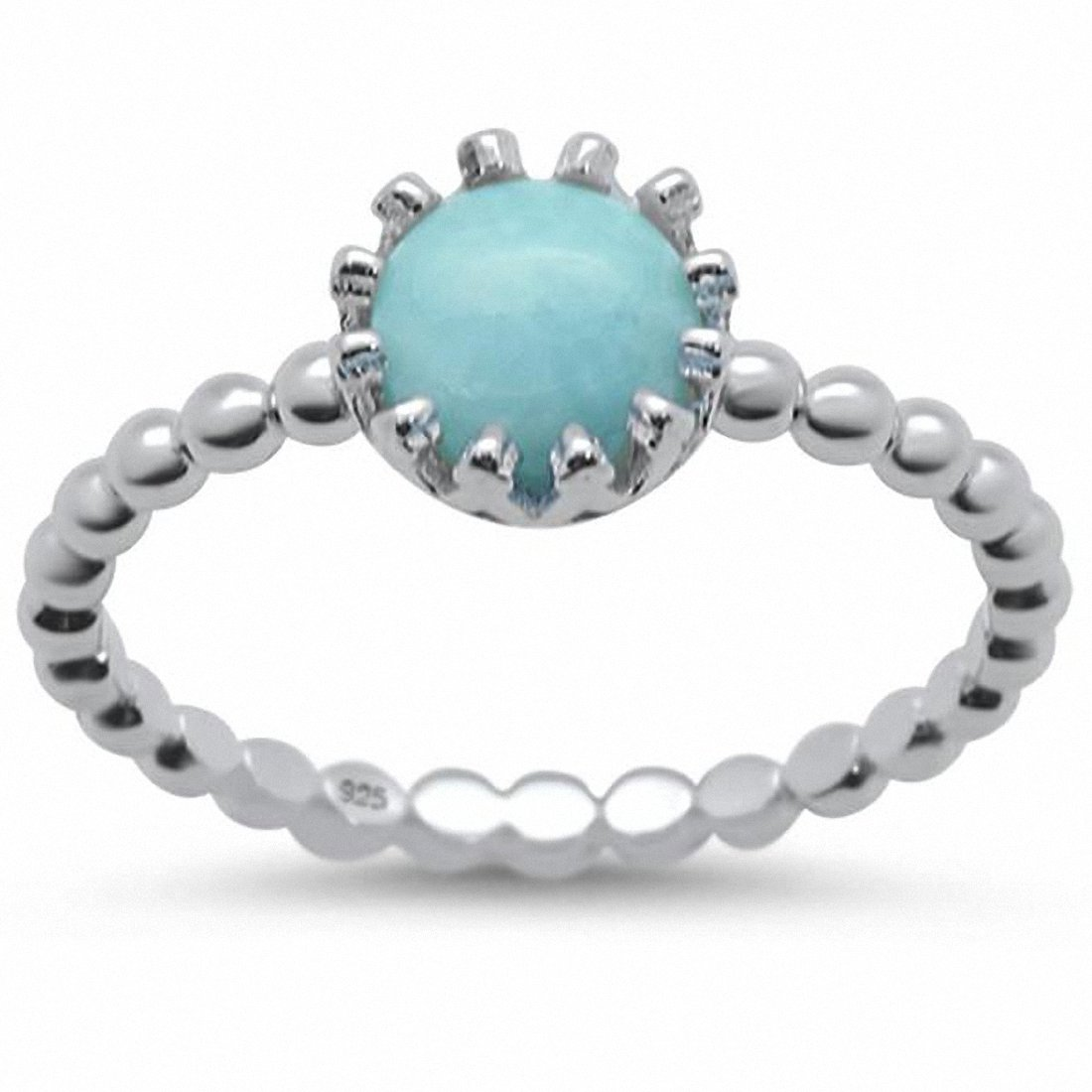 Solitaire Fashion Ring Bead Ball Band Crown Round Lab Opal Sterling Silver Choose Color
