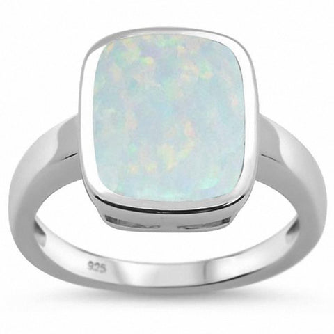 Solitaire Emerald Cut Ring Created Blue Opal 925 Sterling Silver Choose Color