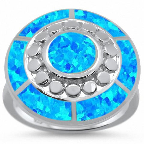 Fashion Antique Style Circle Round Ring Created Opal 925 Sterling Silver Choose Color