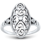 Oval Filigree Swirl Ring Band 925 Sterling Silver Simple Plain - Blue Apple Jewelry