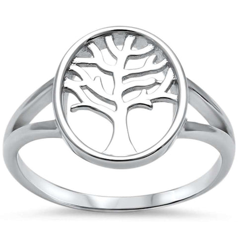 Split Shank Tree of Life Ring Band 925 Sterling Silver Plain Simple - Blue Apple Jewelry