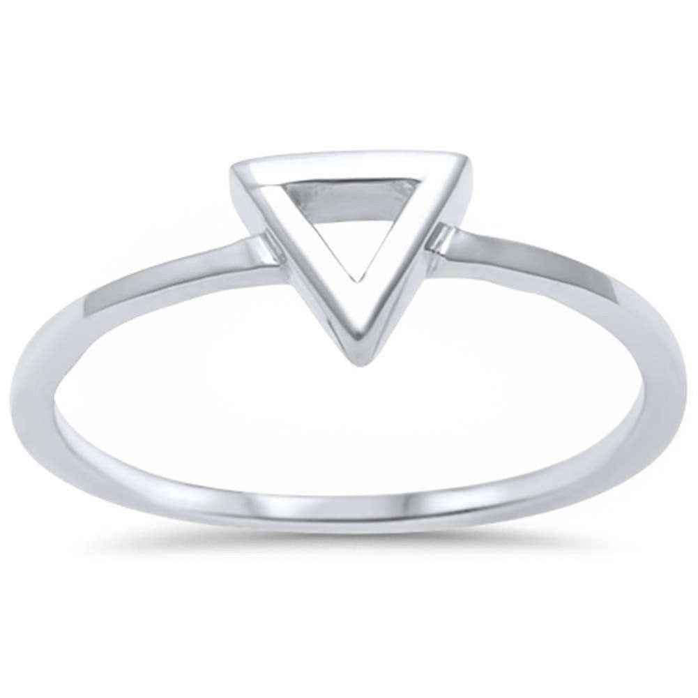 Fashion Trendy Triangle Band Ring 925 Sterling Silver Simple Plain - Blue Apple Jewelry