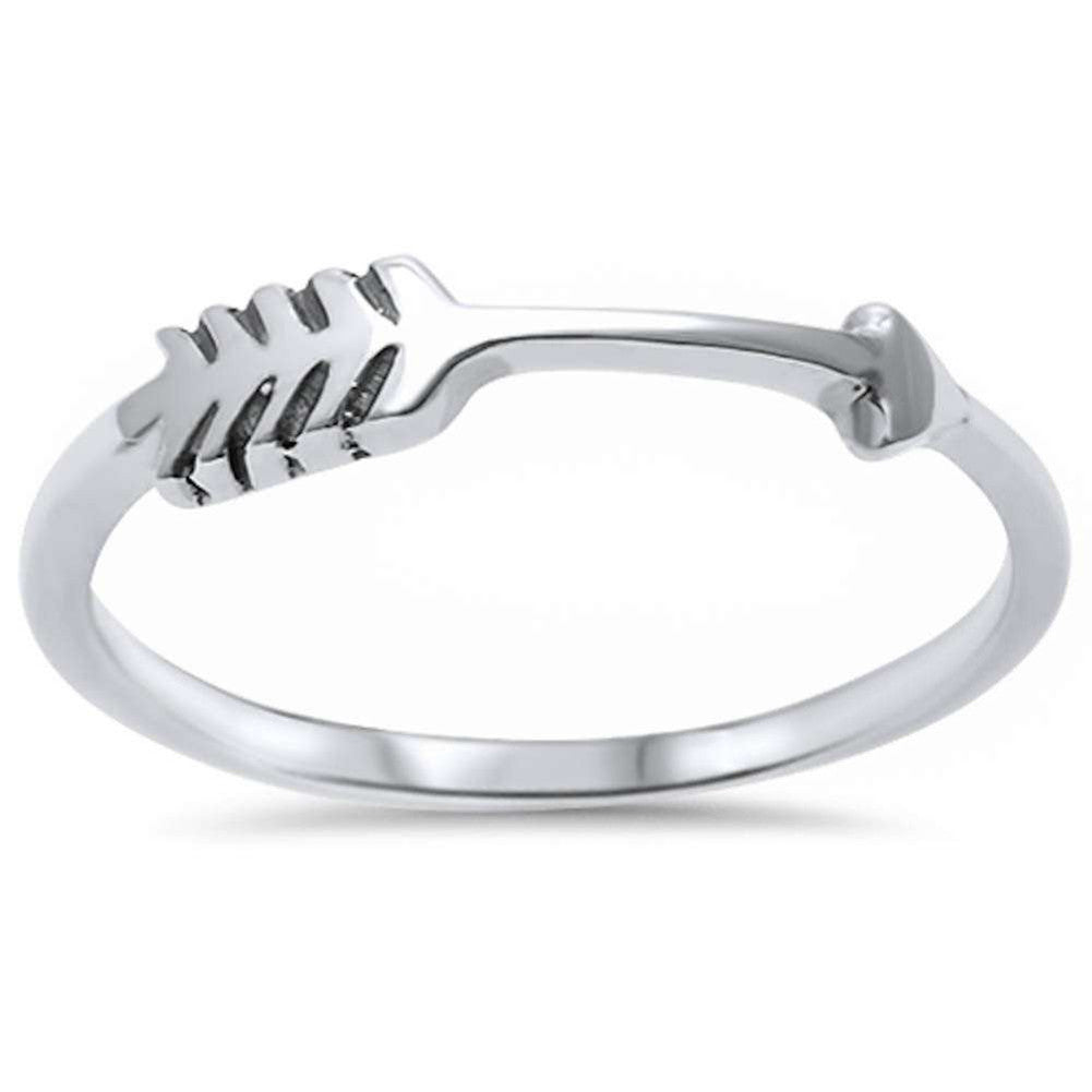 Sideways Arrow Ring Band 925 Sterling Silver Arrow Band Ring