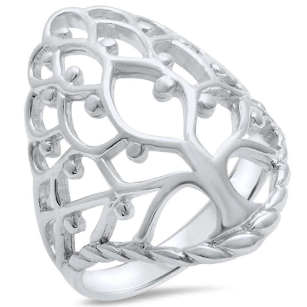 Family Tree Ring 925 Sterling Silver Tree of Life Ring Band - Blue Apple Jewelry