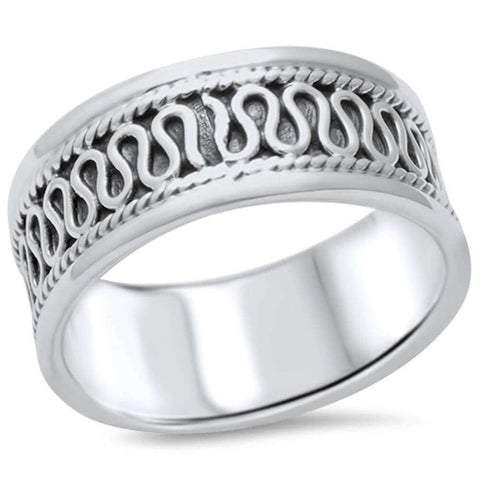 Unisex Men Women Bali Ring Band Braided Design 925 Sterling Silver