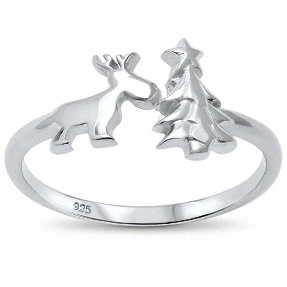 Christmass Tree Reindeer Ring Band 925 Sterling Silver Choose Color