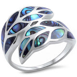 Leaf Ring Bypass Wrap Design Simulated Turquoise 925 Sterling Silver