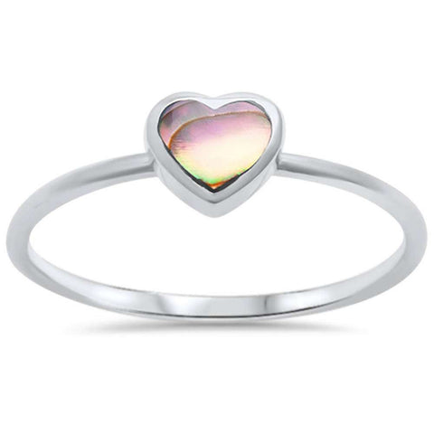 Petite Dainty Solitaire Heart Ring Heart Promise Ring Simulated Rainbow Abalone 925 Sterling Silver - Blue Apple Jewelry