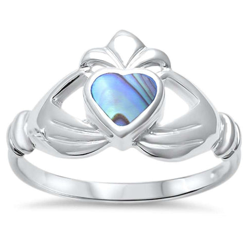 Irish Claddagh Promise Heart Ring Simulated Rainbow Abalone 925 Sterling Silver