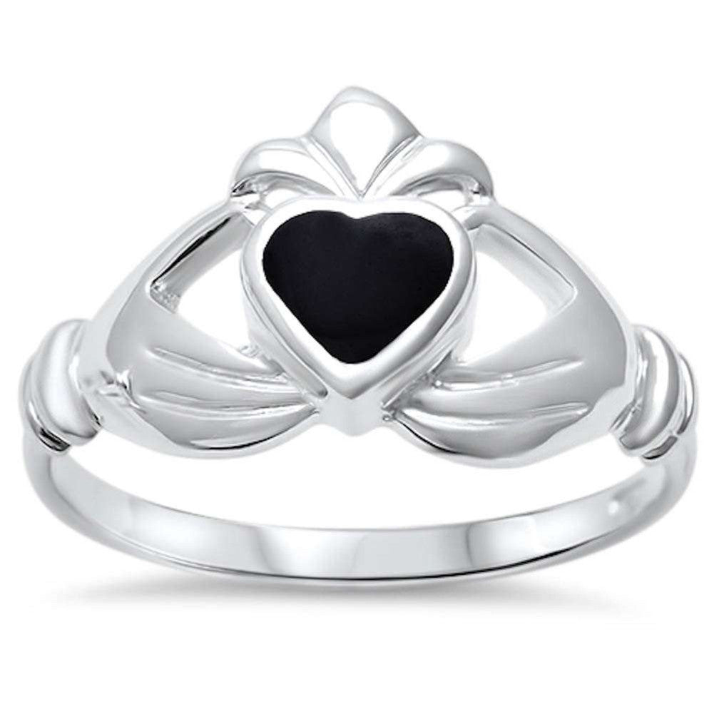 Irish Claddagh Promise Heart Ring Simulated Rainbow Abalone 925 Sterling Silver (11mm)