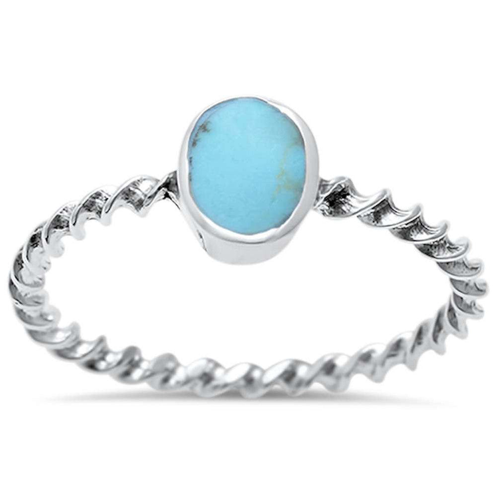Fashion Solitaire Ring Twisted Braided Cable Rope Band Simulated Rainbow Abalone 925 Sterling Silver - Blue Apple Jewelry