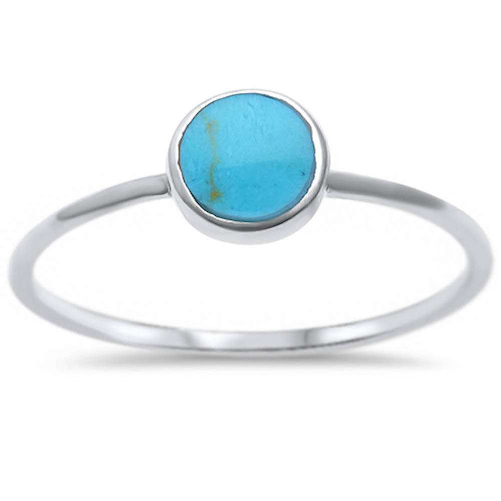 Solitaire Fashion Petite Dainty Trendy Solitaire Ring Round Simulated Rainbow Abalone 925 Sterling Silver - Blue Apple Jewelry