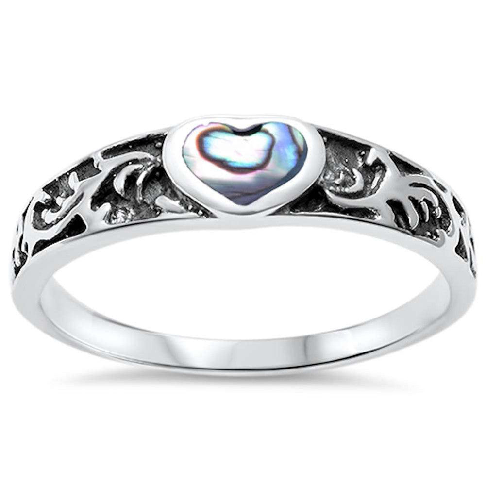 Fashion Heart Promise Ring Band Simulated Rainbow Abalone 925 Sterling Silver - Blue Apple Jewelry