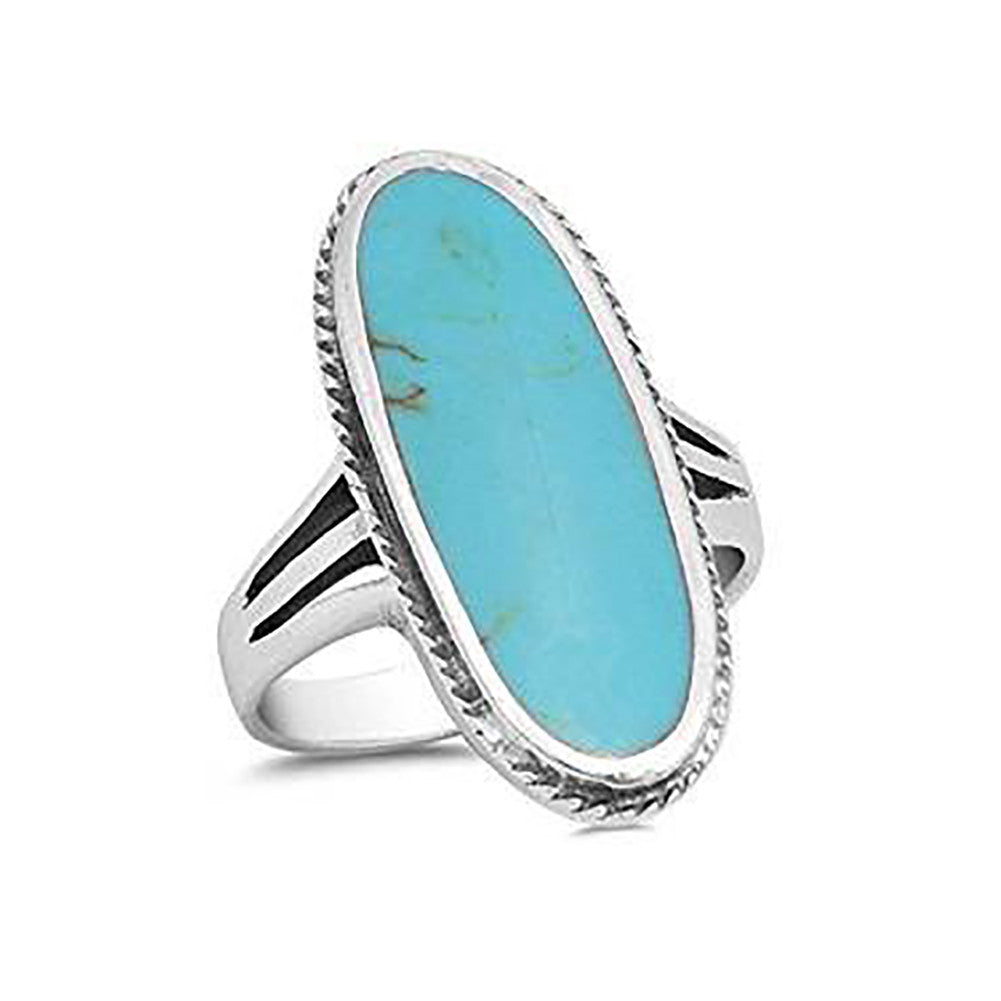 Wide Ring Oval Simulated Turquoise Solitaire 925 Sterling Silver - Blue Apple Jewelry