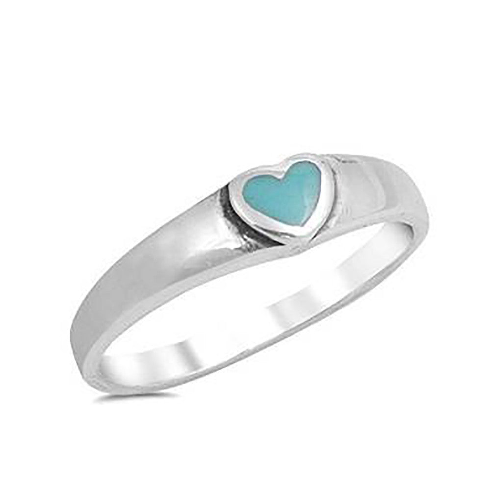 Solitaire Heart Promise Ring Heart Simulated Turquoise 925 Sterling Silver - Blue Apple Jewelry