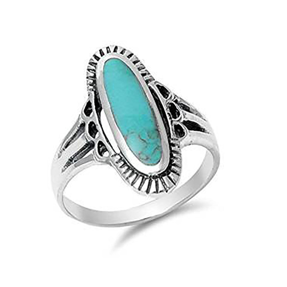 Oval Solitaire Ring 925 Sterling Silver Simulated Turquoise - Blue Apple Jewelry