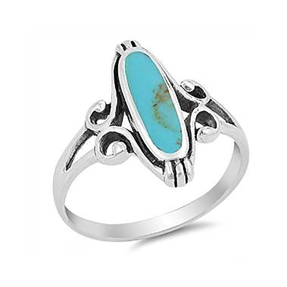 Oval Simulated Rainbow Abalone 925 Sterling Silver Swirl Shank Ring - Blue Apple Jewelry