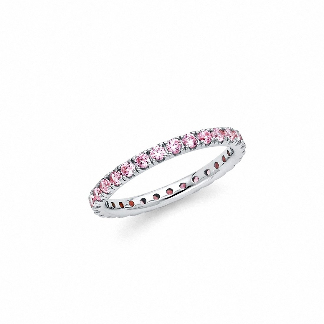 Eternity Style Pink Band Ring 925 Sterling Silver Choose Color