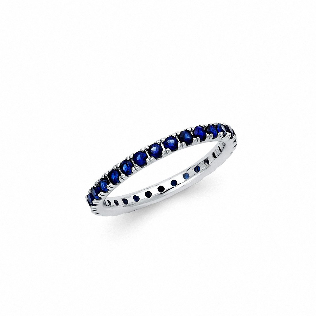 Eternity Style Simulated Blue Sapphire Band Ring 925 Sterling Silver Choose Color